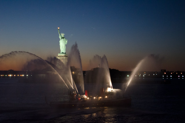Lady Liberty, as seen from Quantum of the Seas tonight as we set sail. Photo © 2014 Aaron Saunders