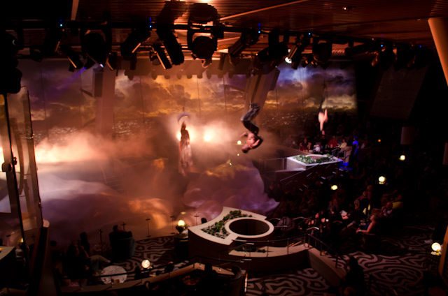 Royal Caribbean has done it again with Quantum of the Seas. Shown here is a scene from Starwater, one of the minboggling production shows at Two70. Photo © 2014 Aaron Saunders