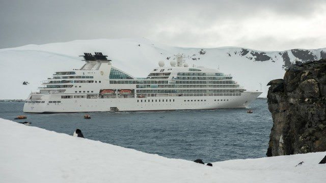 Seabourn Quest holds it position off Half Moon Island. © 2014 Chris Stanley for Avid Travel Media Inc.