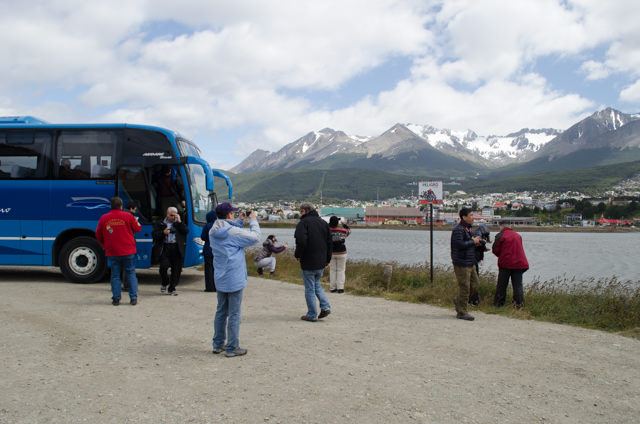 From the airport, Hurtigruten guests were taking on an included panoramic tour of the city of Ushuaia before enjoying free time prior to embarkation. Photo © 2015 Aaron Saunders