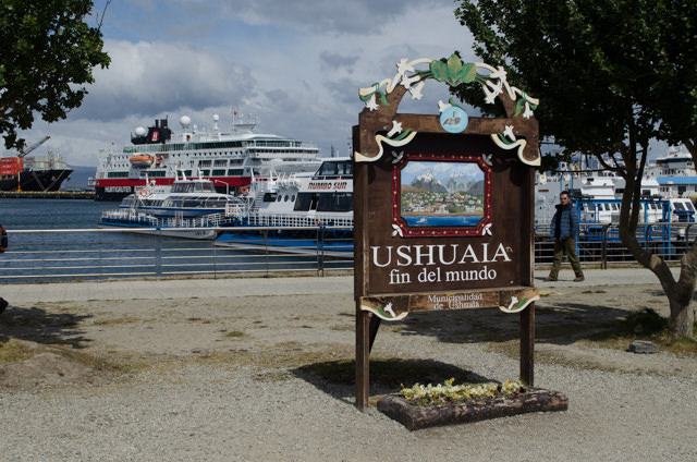 Welcome to Ushuaia! The FRAM is in the background. Photo © 2015 Aaron Saunders