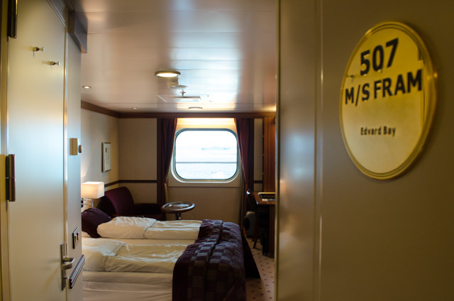 My home for the next two weeks: Stateroom 507, one of FRAM's Deluxe Oceanview rooms. Photo © 2015 Aaron Saunders