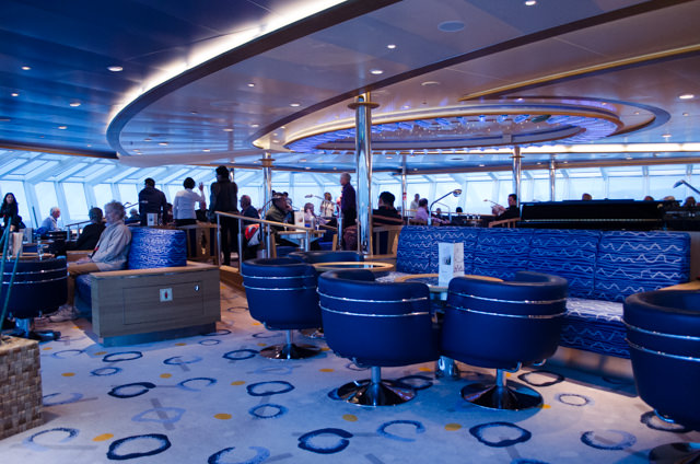 Later in the evening, guests gathered in the Observation Lounge on Deck 7...Photo © 2015 Aaron Saunders