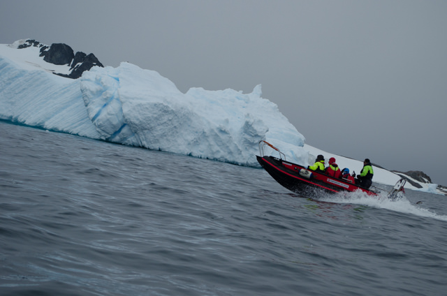 Aboard our Polarcirkel boats, we zipped away from the FRAM...Photo © 2015 Aaron Saunders