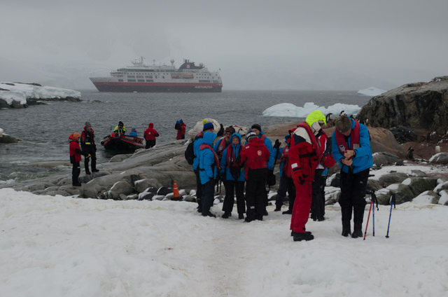 Coming ashore on Petermann Island. We didn't know it at the time, but this would be our last morning out on the ice. Photo © 2015 Aaron Saunders