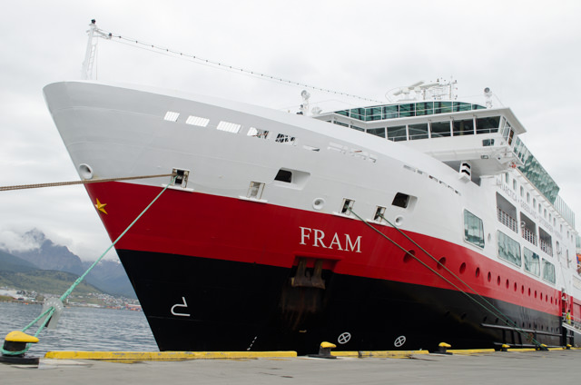 Hurtigruten's polar explorer ship FRAM docked in Ushuaia, Argentina - the embarkation point for our journey to Antarctica! Photo © 2015 Aaron Saunders
