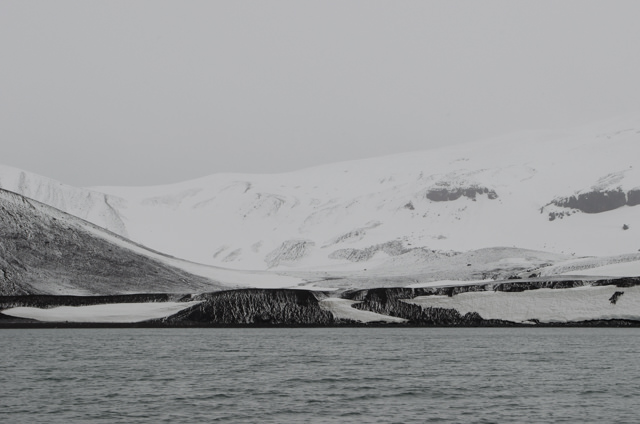 Telefon Bay is part of Deception Island, a ring-shaped mass of land that is volcanically active. Photo © 2015 Aaron Saunders
