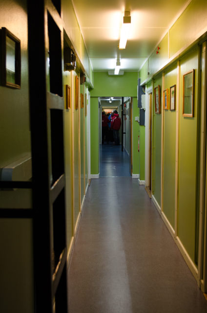 Inside the base. Note the brightly-coloured walls. Photo © 2015 Aaron Saunders