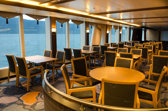 Cafe onboard the FRAM, Deck 4. Here, you can get coffee and tea along with some sweets around the clock. Photo © 2015 Aaron Saunders