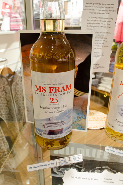 Sadly, all guests were not fitted with a complimentary bottle of the MS Fram's own Scotch - but you can buy it onboard! Photo © 2015 Aaron Saunders
