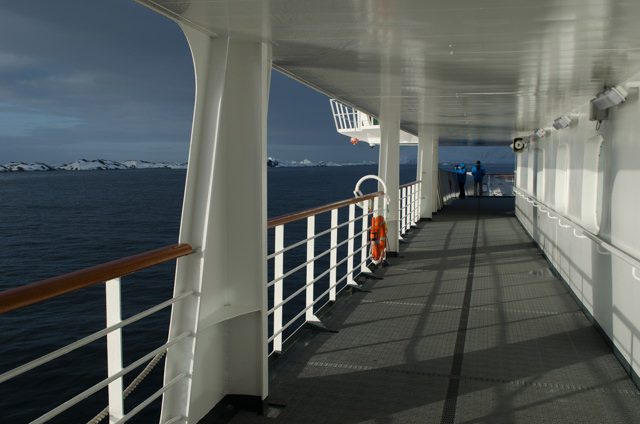 ...and from down on Deck 5. But the expanse of open ocean troubles me. Weren't we going back to Petermann Island? Photo © 2015 Aaron Saunders