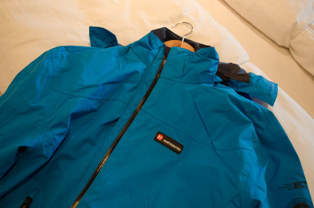 Preparing for Antarctica: guests were all issued with their bright-blue (and complimentary) jackets this morning. Photo © 2015 Aaron Saunders