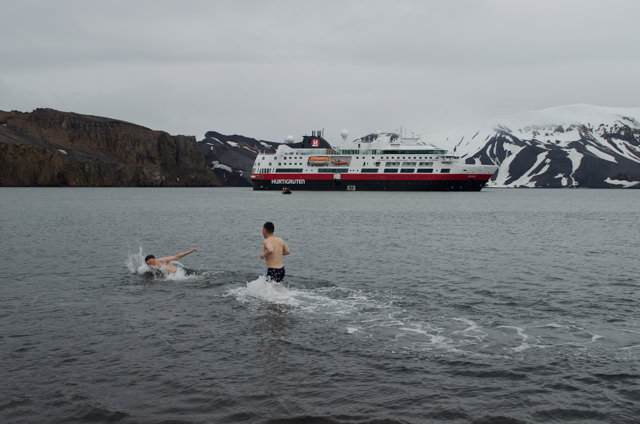 A few hearty guests went for the Polar Plunge on Deception Island! Photo © 2015 Aaron Saunders