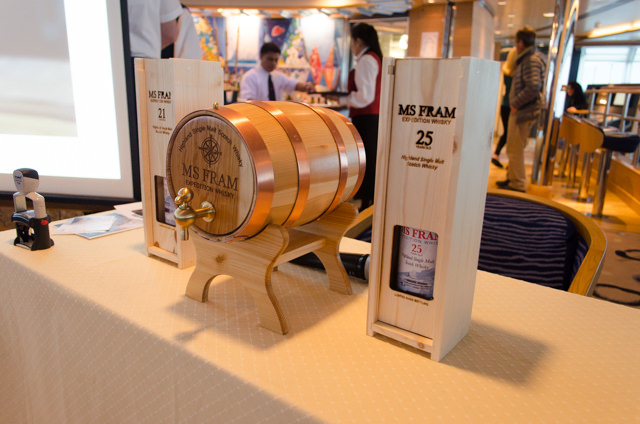 Tonight, guests aboard Hurtigruten's FRAM were invited to taste the ship's very own whisky, carried around the world in two barrels located by the radar mast. Photo © 2015 Aaron Saunders