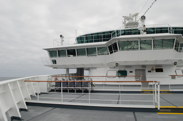 FRAM also features an open-bow that's perfect for scenic cruising, and which was well-utilised today. Unlike other ships, bow access is always open. Photo © 2015 Aaron Saunders