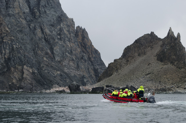 One of FRAM's Polarcirkel boats sets out to explore Elephant Island. Photo © 2015 Aaron Saunders