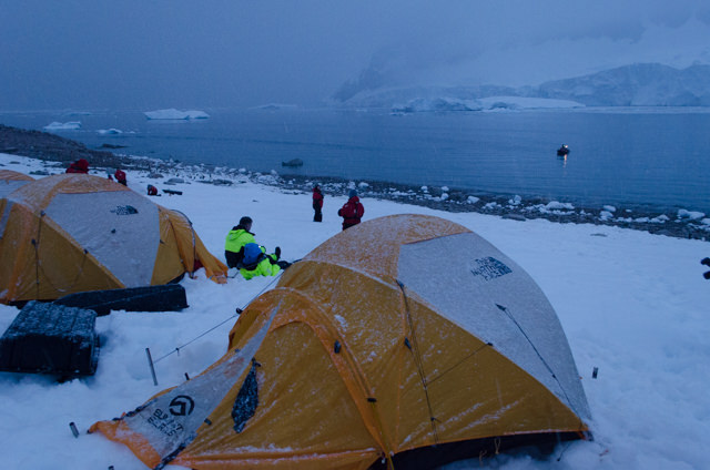 Finished, the campers prepare to turn in for the night, while I and a few others head back to the FRAM. Note the waiting Polarcirkel boat in the bay. Photo © 2015 Aaron Saunders
