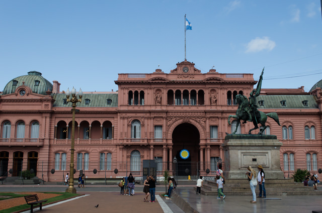 Built between 1882 and 1886, Casa Rosada is the official workplace of the President of Argentina, who happens at the moment to be Christina Kirchner. Photo © 2015 Aaron Saunders
