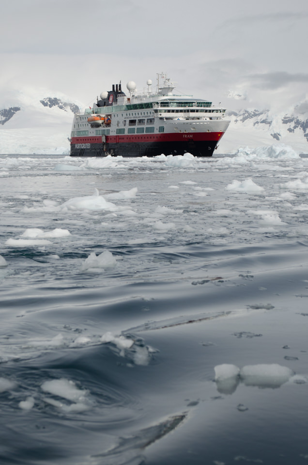 Hurtigruten's FRAM was purpose-built to sail the polar regions of the world, and she excels in Antarctica. Photo © 2015 Aaron Saunders