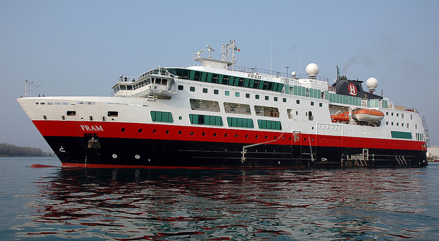 Hurtigruten's FRAM was launched in 2007, and was designed specifically for Antarctic cruising. Photo courtesy of Hurtigruten.