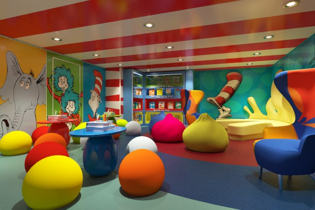 Carnival Freedom recently underwent a massive refurbishment program. Shown here is Dr. Seuss Bookville, part of Carnival's unique Seuss-at-Sea programme for kids. Photo courtesy of Carnival Cruise Lines.