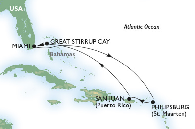 Our MSC Divina Eastern Caribbean Live Voyage Report will run from February 7-14, 2015. Illustration courtesy of MSC Cruises.