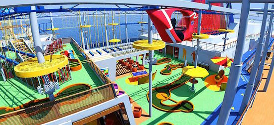 Sky Ride lets you pedal your way around the top of the ship.