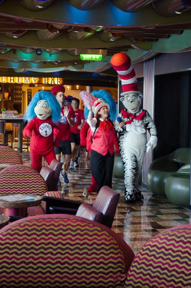This morning, the Seuss-at-Sea Parade took place along the Deck 5 Promenade aboard Carnival Freedom. Photo © 2015 Aaron Saunders
