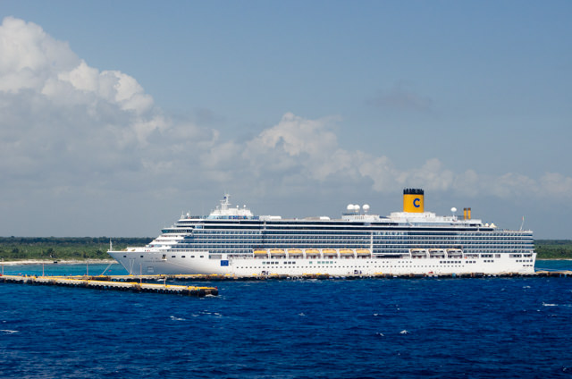 Meanwhile, Carnival Freedom was nearing Costa Maya...and Costa Luminosa, as it turns out! Photo © 2015 Aaron Saunders