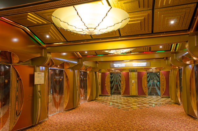 Elsewhere, the Carnival Freedom took on a quiet, subdued existence...even if perhaps Joe Farcus's interior design work did not! Photo © 2015 Aaron Saunders