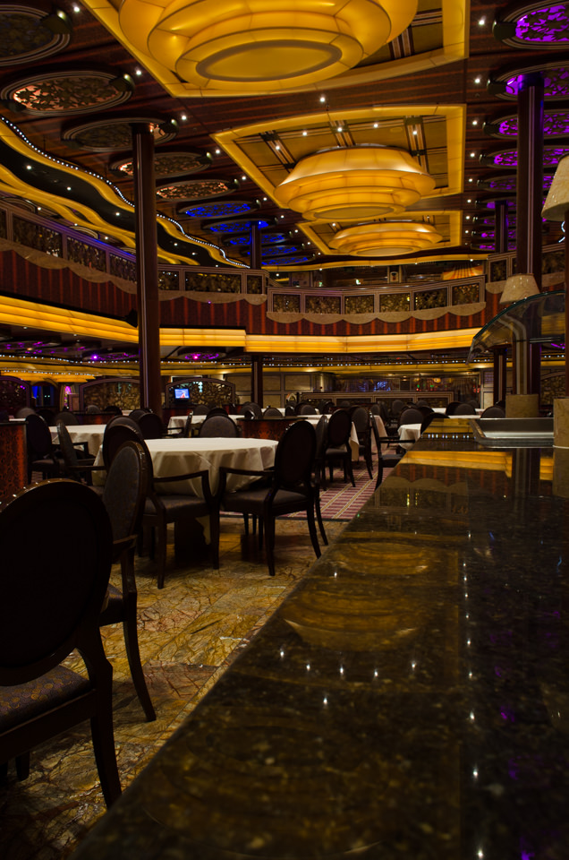 The Posh Restaurant spans Decks 3 and 4 aft. Photo © 2015 Aaron Saunders