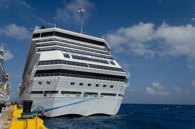 The stern of Carnival Freedom in Costa Maya on February 17, 2015. Photo © 2015 Aaron Saunders