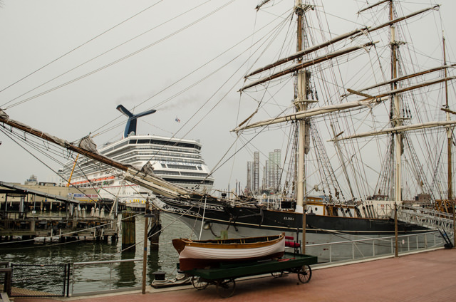 The tall ship Elissa, with Carnival Freedom in the background. Photo © 2015 Aaron Saunders