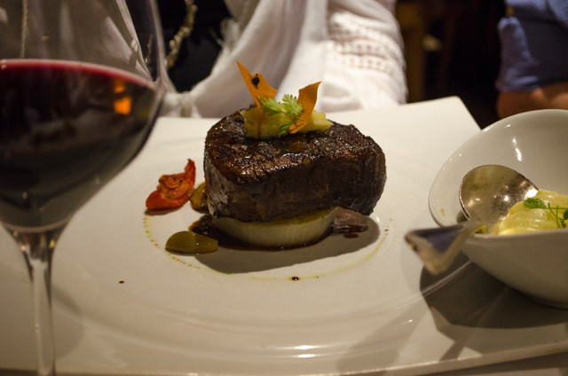 The Filet Mignon was a popular choice...and photographed much better than my Lobster Ravioli! Photo © 2015 Aaron Saunders