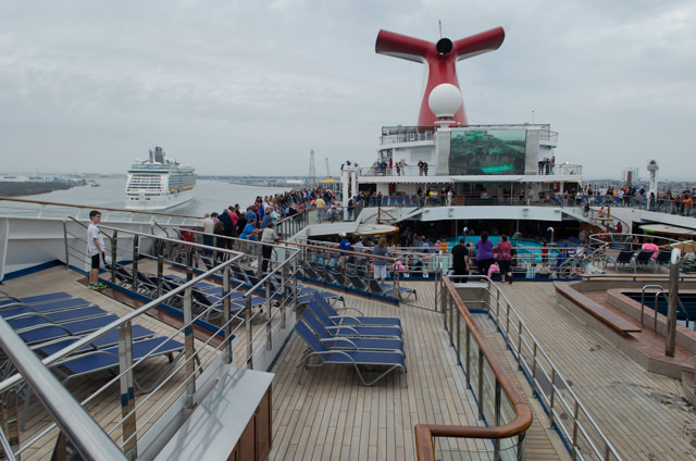 The party kicks off on the Pool Deck as Carnival Freedom begins to push away from the pier shortly after 4:30 p.m. Photo © 2015 Aaron Saunders