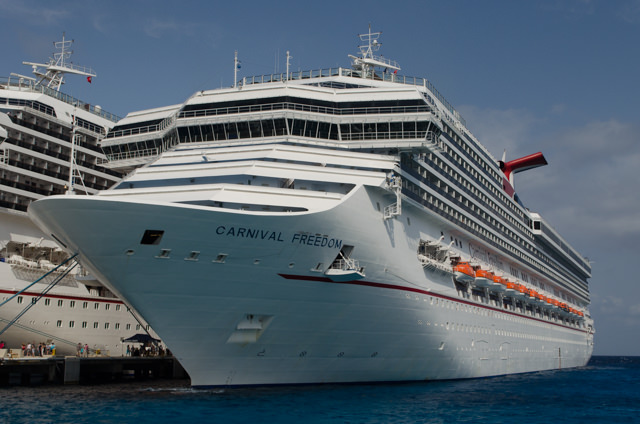 Carnival Freedom at her berth in Cozumel today. Photo © 2015 Aaron Saunders