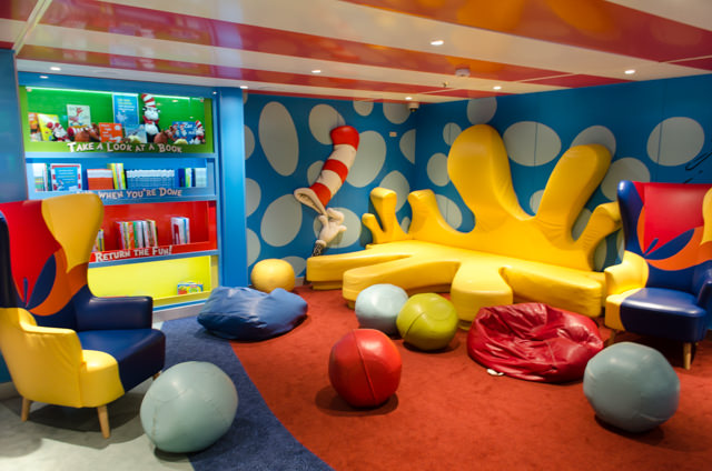 Carnival Freedom features the first Bookville at sea; a Dr. Seuss-themed reading and play room complete with the author's famous children's books. Photo © 2015 Aaron Saunders