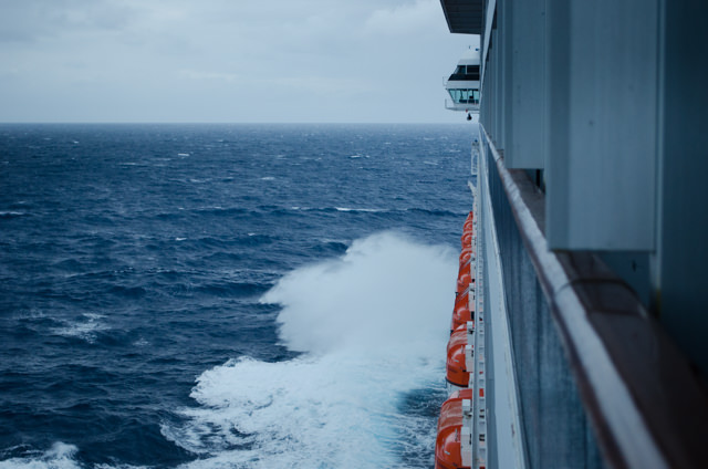 Heading towards Progreso, Mexico this evening on an unusually stormy Caribbean sea. Photo © 2015 Aaron Saunders