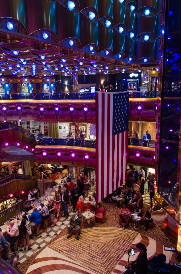 Carnival Freedom's atrium was a popular location for nightly live entertainment. Photo © 2015 Aaron Saunders