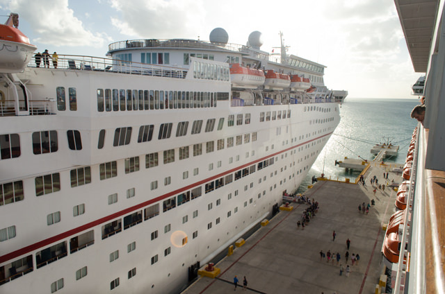 Back onboard Carnival Freedom in Progreso, with Carnival Elation (1998) docked next to us. Photo © 2015 Aaron Saunders