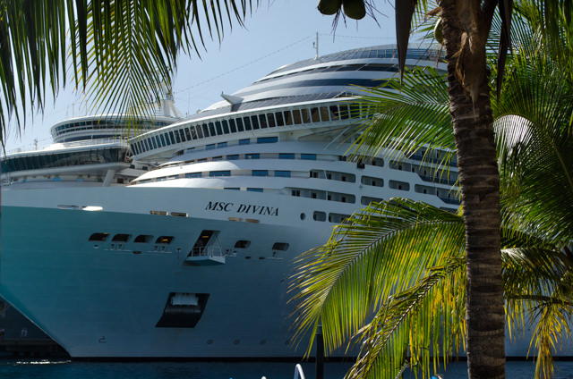 MSC Divina, however, had the coveted berthing spot right next to the beach. Photo © 2015 Aaron Saunders
