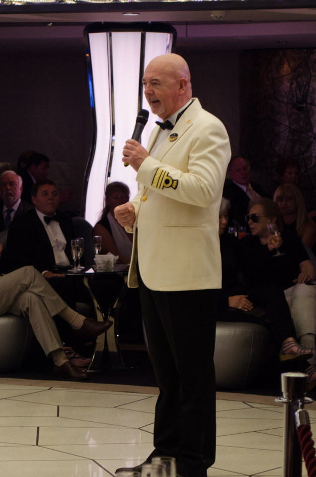 MSC Divina's Captain, Pier Paolo Scala, addresses guests at the Captain's Cocktail Reception. Photo © 2015 Aaron Saunders