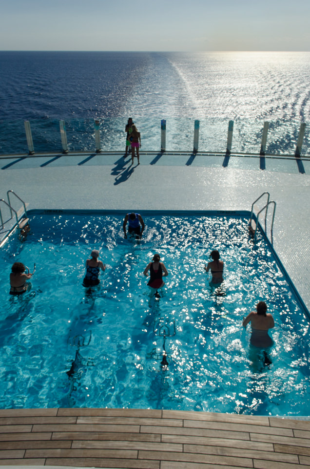 AquaCycling off the stern of MSC Divina as she sails the Atlantic en-route to Miami. Photo © 2015 Aaron Saunders