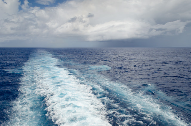 Of course, the views from the stern are suitably rewarding as we speed along at 19 knots. Photo © 2015 Aaron Saunders
