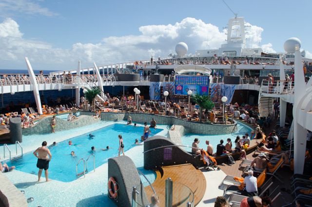 Deck 14's Aqua Park was packed today! This was the pool deck when it was still relatively calm...Photo © 2015 Aaron Saunders