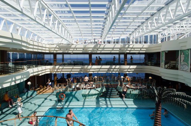 A trip to MSC Divina's enclosed Le Sirene Covered Pool on Deck 14 proved to be a popular choice. I wish more ships would do the indoor pool/solarium thing. Photo © 2015 Aaron Saunders