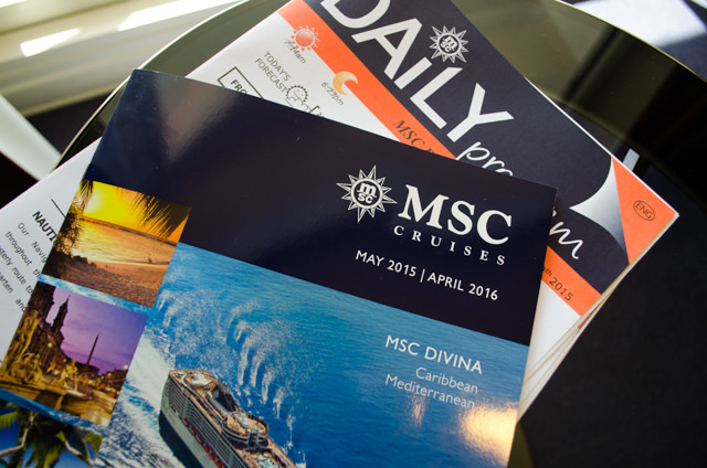 Ta-Daa! An English-language brochure mysteriously found its way to my stateroom today. Nice touch! Photo © 2015 Aaron Saunders