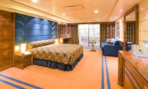 MSC Yacht Club suites feature an entirely different (but no less attractive) colour palette. Photo courtesy of MSC Cruises.