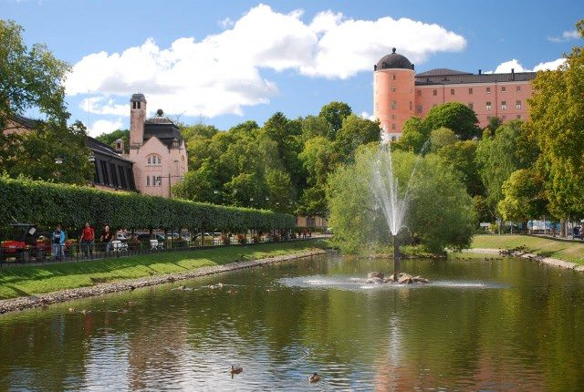 A view of Uppsala Castle from the Svandammen Fountain