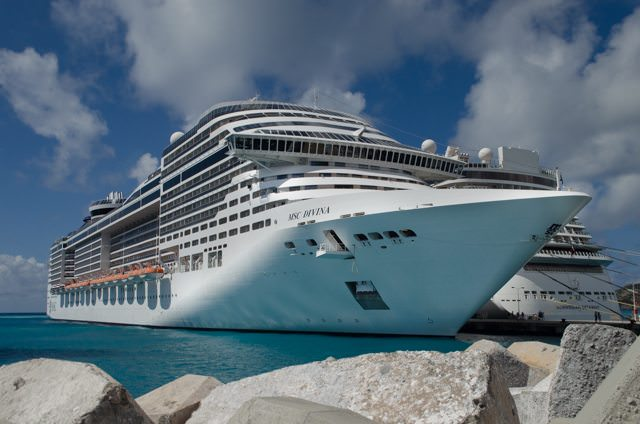 MSC Divina in Philipsburg, St. Maarten. Photo © 2015 Aaron Saunders